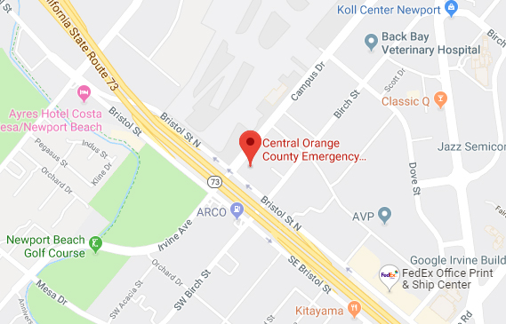 Map - Central Orange County Emergency Animal Hospital Newport Beach, CA